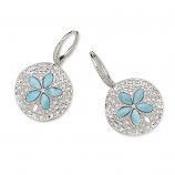 Sterling and Larimar Sand Dollar Earrings