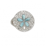 Sterling and Larimar Sand Dollar Ring