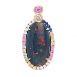 Black Opal and Sapphire Pendant