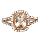 Pink Gold and Morganite Ring with Diamonds