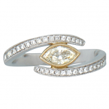 Two Tone Ring with Diamonds