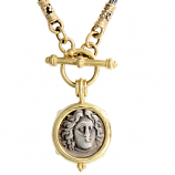 Ancient Greek Silver Didrachm, Helios, in 14Kt Gold and Sterling Silver Toggle Necklace