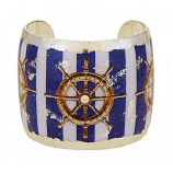 """Ship's Wheel Blue Stripe"" Cuff by Evocateur"