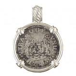Spanish Silver Colonial Coin Pendant - 2 Reales