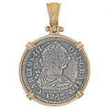 Spanish Silver Bust Coin Pendant, Two Reales - El Cazador Shipwreck