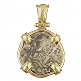 Spanish Silver Cob Coin Pendant- 1Reales