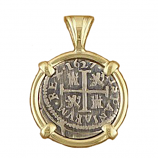 Spanish Silver Coin Pendant - Half Reale