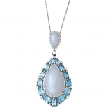 Blue Topaz, Chalcedony and Diamond Necklace