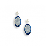 Sterling Blue Oval Earrings