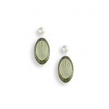 Sterling Green Oval Earrings