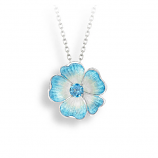 Sterling Blue Rose Necklace