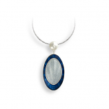 Sterling Blue Oval Necklace