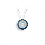 Sterling Blue Circle Necklace