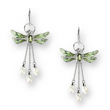 Sterling Green Dragonfly Earrings
