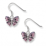 Sterling Lavender Butterfly Earrings
