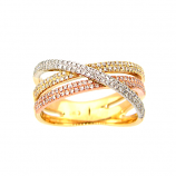 Tricolor Crossover Diamond Ring