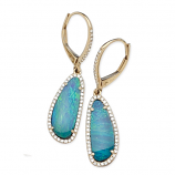 Diamond and Opal Drop Earrings