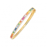 Diamond and Rainbow Sapphire Bangle Bracelet