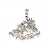 Sterling Green Heron Chicks Pendant