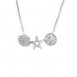 Diamond Three Shell Necklace