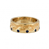 Ladies Wave Ring with Sapphires