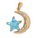 Crecent Moon with Blue Topaz Star Pendant