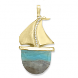Diamond and Opal Sailboat Pendant