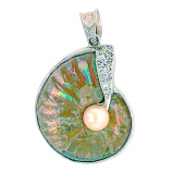 Pearlized Fossil Ammonite Shell Pendant