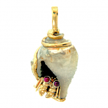 Drusy Shell and Fiddler Crab Pendant