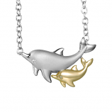 Sterling Dolphin with Baby Necklace