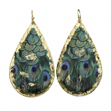 """Feathered Peacock"" Earrings by Evocateur"