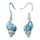 Sterling and Larimar Conch Earrings