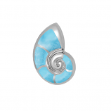 Sterling and Larimar Nautilus Pendant