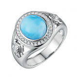 Sterling Larimar Turtle Ring