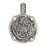 Spanish Silver Cob Coin Pendant - 1 Reale