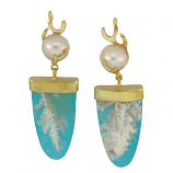 Sea Coral Agate and Turquoise Earrings
