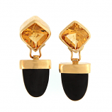 Citrine and Onyx Earrings