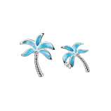 Sterling and Larimar Palm Tree Earrings