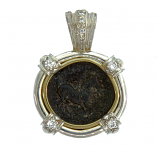 Ancient Greek Bronze Apollo Coin Pendant