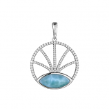 Sterling and Larimar Circle Pendant