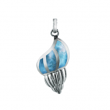 Sterling and Larimar Conch Pendant