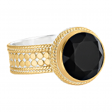 Sterling and Vermeil Black Onyx Ring
