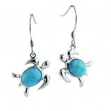 Sterling and Larimar Turtle Earrings