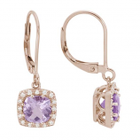 Pink Amethyst and Diamond Earrings