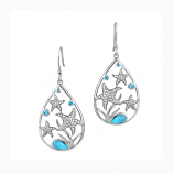 Sterling and Larimar Starfish Earrings