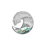 Sterling and Abalone Wave Pendant