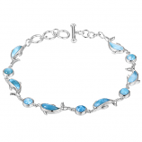 Sterling and Larimar Dolphin Bracelet